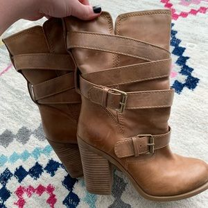 Jessica Simpson Leather Chunky Heel Boots